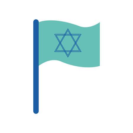 Jewish flag flat style icon design, Hanukkah holiday celebration judaism religion festival traditional and culture theme Vector illustration 일러스트
