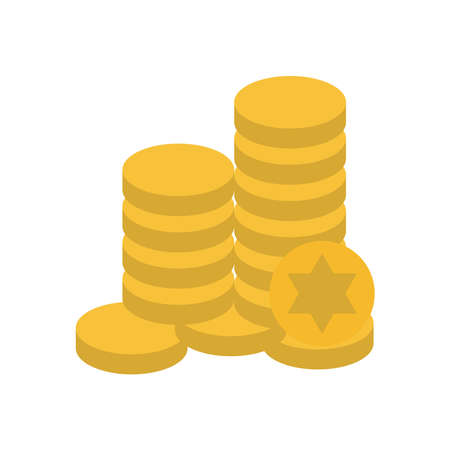 Jewish gelt coins flat style icon design, Hanukkah holiday celebration judaism religion festival traditional and culture theme Vector illustration