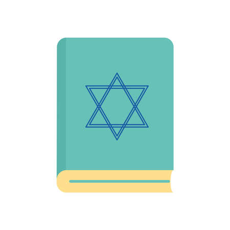 Jewish torah book flat style icon design, Hanukkah holiday celebration judaism religion festival traditional and culture theme Vector illustration 일러스트
