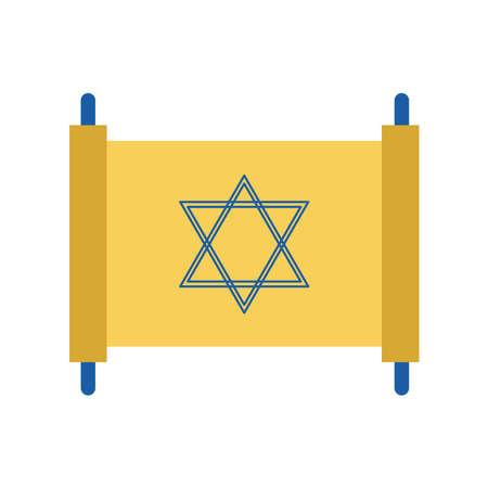 Jewish torah flat style icon design, Hanukkah holiday celebration judaism religion festival traditional and culture theme Vector illustration