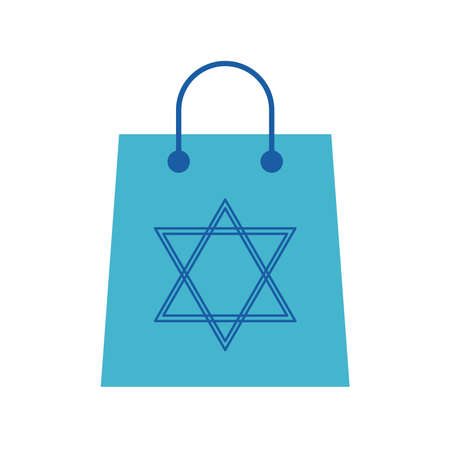 Jewish star flat style icon design, Hanukkah holiday celebration judaism religion festival traditional and culture theme Vector illustration