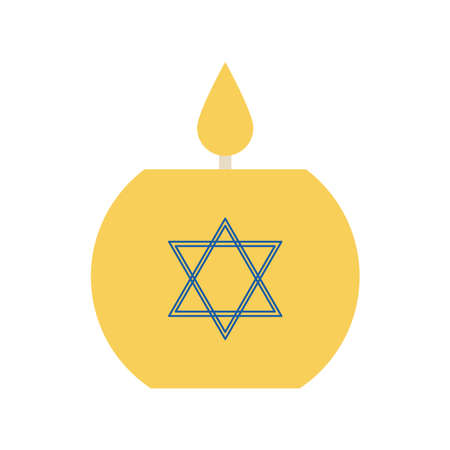 Jewish candle flat style icon design, Hanukkah holiday celebration judaism religion festival traditional and culture theme Vector illustration