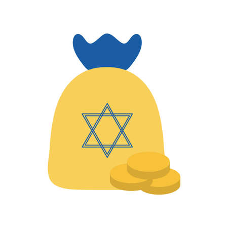 Jewish gelt bag with coins flat style icon design, Hanukkah holiday celebration judaism religion festival traditional and culture theme Vector illustration