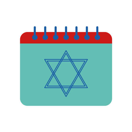 Jewish hanukkah calendar flat style icon design, holiday celebration judaism religion festival traditional and culture theme Vector illustration