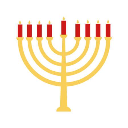 Jewish menorah flat style icon design, Hanukkah holiday celebration judaism religion festival traditional and culture theme Vector illustration