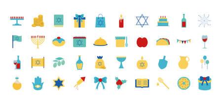 Hanukkah and jewish flat style symbol set design, holiday celebration judaism religion festival traditional and culture theme Vector illustration
