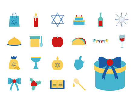 Hanukkah and jewish flat style icon collection design, holiday celebration judaism religion festival traditional and culture theme Vector illustration 일러스트