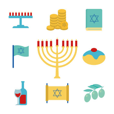 Hanukkah and jewish flat style icon set design, holiday celebration judaism religion festival traditional and culture theme Vector illustration 일러스트