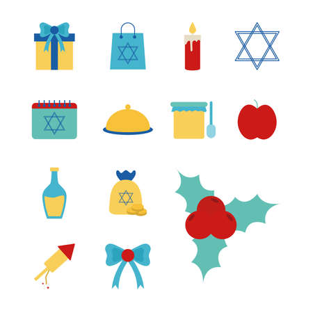 Hanukkah and jewish flat style set icons design, holiday celebration judaism religion festival traditional and culture theme Vector illustration