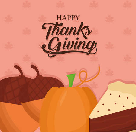 happy thanksgiving day acorns pumpkin and cake design, Autumn season theme Vector illustration