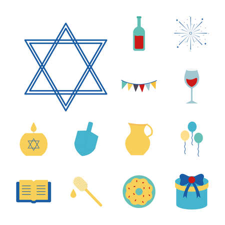 Hanukkah and jewish flat style set of icons design, holiday celebration judaism religion festival traditional and culture theme Vector illustration