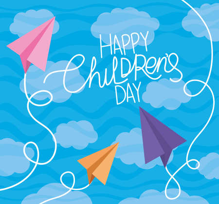 Happy childrens day with paper planes and clouds design, International celebration theme Vector illustration