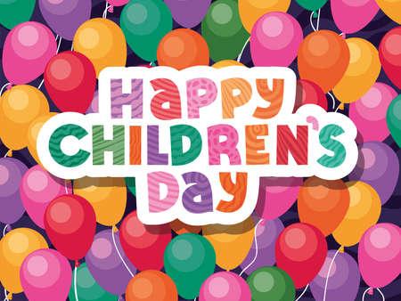 Happy childrens day on balloons background design, International celebration theme Vector illustration