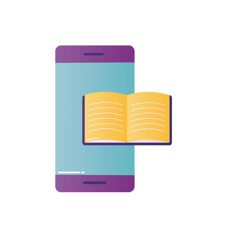 smartphone with ebook design, Education online and elearning theme Vector illustration