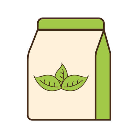Tea bag with leaves line and fill style icon design, Time drink breakfast and beverage theme Vector illustration