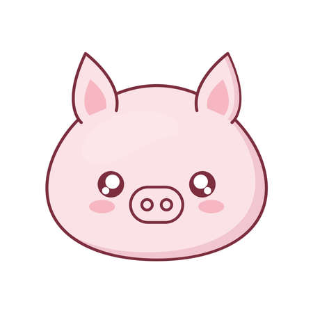 Kawaii pig animal cartoon design, expression cute character funny and emoticon theme Vector illustration