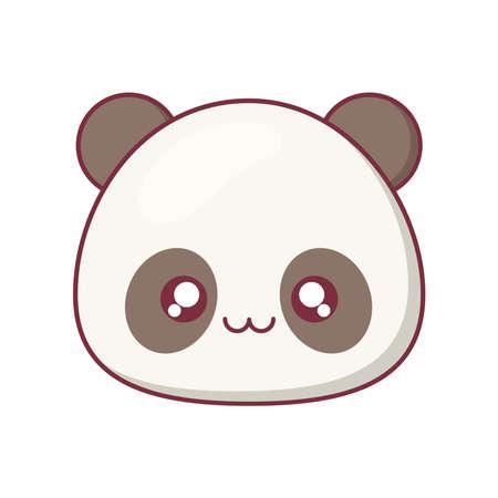 Kawaii panda animal cartoon design, expression cute character funny and emoticon theme Vector illustration Vetores