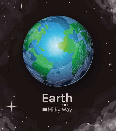 earth world sphere milky way style icon design, Planet continent and globe theme Vector illustration Иллюстрация