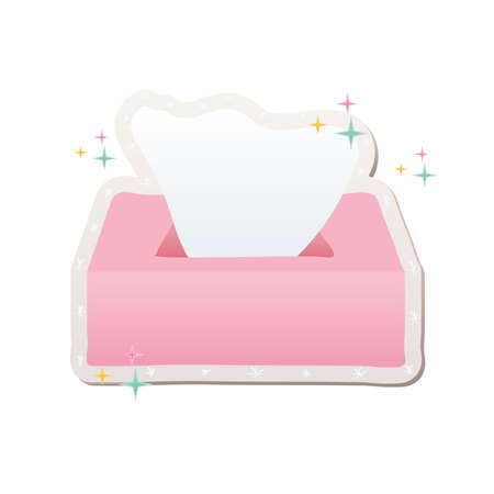 pink tissue box with one tissue stickers vector illustration design