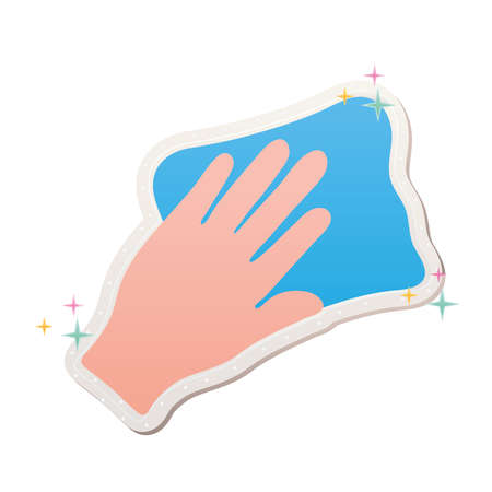 hand cleaning stickers with dishcloth vector illustration design