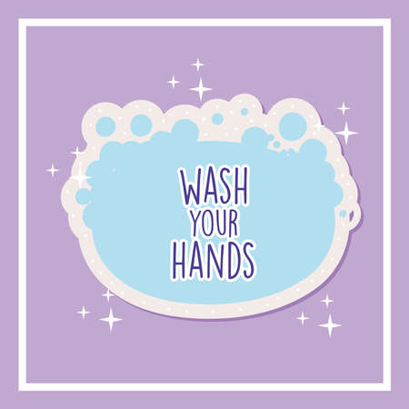 wash your hands lettering in soap bar covid19 pandemic stickers vector illustration design