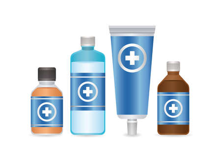 set of first AID disinfectant bottle and flu icons on white background vector illustration design