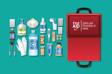 set of first AID icon on green background vector illustration design