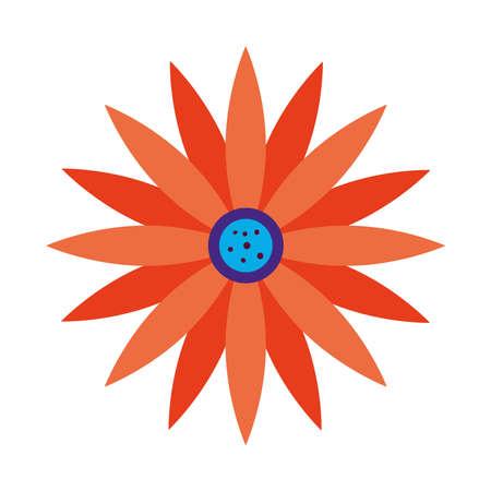 flower with orange color icon over white background vector illustration design
