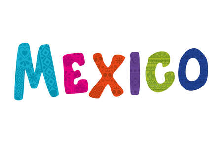 mexico lettering over a white background vector illustration design Vecteurs