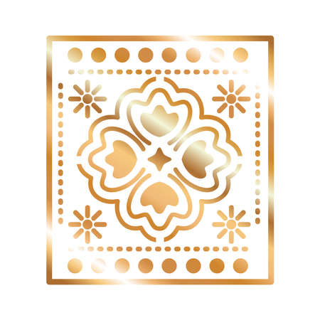 mexican icon of a clover with golden color in square on white background vector illustration design Vecteurs
