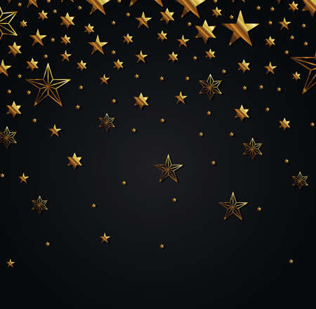 gold stars on black background design, Night bedtime sky space nature science celestial galaxy and astrology theme Vector illustration
