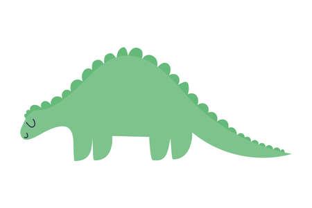 sticker of a dinosaur of green color vector illustration design