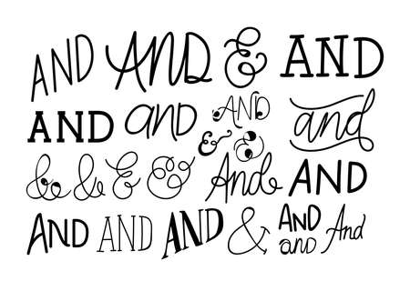 set of and catchwords in white background vector illustration design