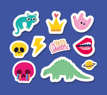 set of stickers with blue background vector illustration design