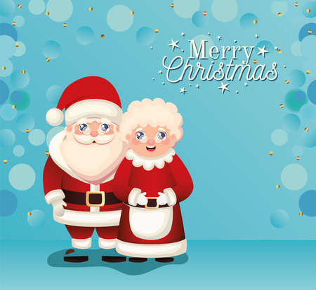 santa claus and Mrs santa claus with merry christmas lettering vector illustration design