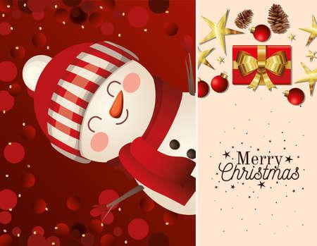christmas snowman with hat icon and merry christmas lettering vector illustration design Vektoros illusztráció