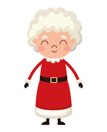 mrs santa claus with a red suit vector illustration design