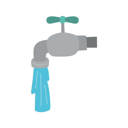 faucet with water flat style icon vector illustration design