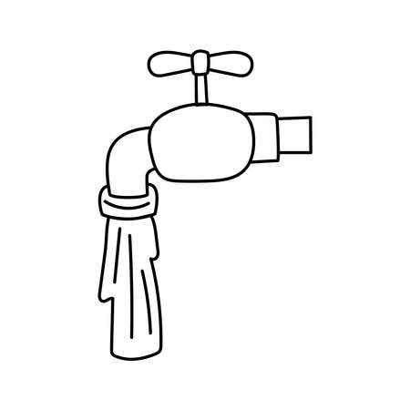 faucet with water line style icon vector illustration design Çizim