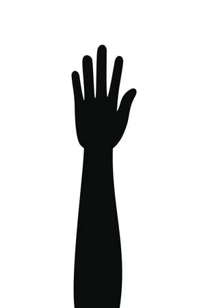 silhouette of one arm with hand vector illustration design