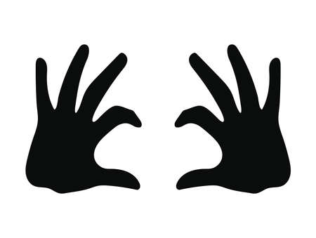 silhouette of two hands on white background vector illustration design