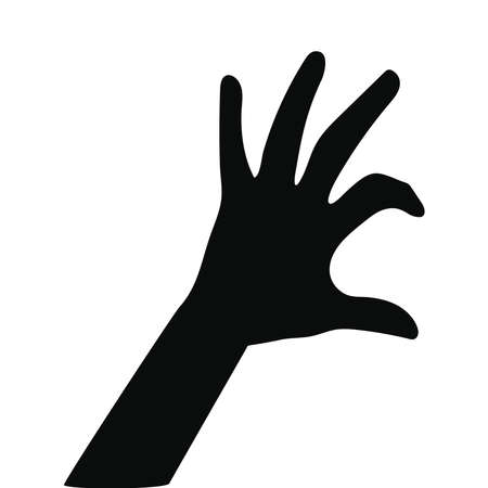 silhouette of one hand on white background vector illustration design Çizim