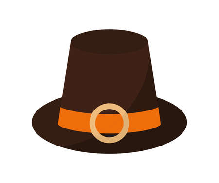 pilgrim hat of a black color with buckle over white background vector illustration design