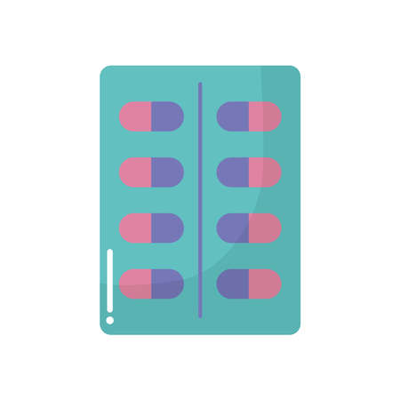 pill tablet with pink and purple pills vector illustration design