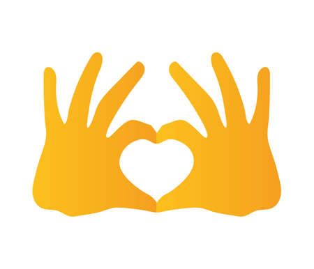 silhouette of two hand with heart form of yellow color vector illustration design