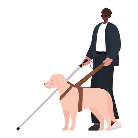 man with a visual impairment and guide dog vector illustration design