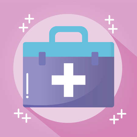 doctor suitcase with a cross on pink background vector illustration design