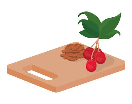 cutting board with coffee beans vector illustration design