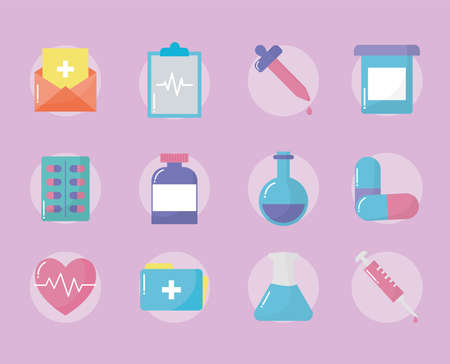 set of medical icons over pink background vector illustration design Vectores