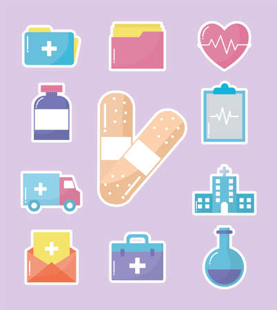 set of medical icons in pink background vector illustration design